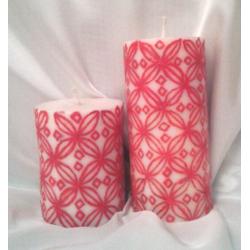 Set 2 lumanari cilindrice cu decor mandala